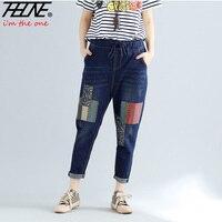 THHONE Boyfriend Jeans Women Trousers Casual Bohemian Style Summer Denim Pants Loose Stretch Plus Size Jeans