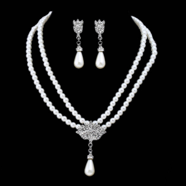Imitated Pearl Dubai Bridal Jewelry Sets Statement Wedding Earrings Necklace Party Accessories Indian Costu