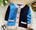 Apuramento moda Primavera meninos camisolas crianças casaco casaco camisola de algodão bebê camisola de malha cardigan com bolso para o menino k-1565