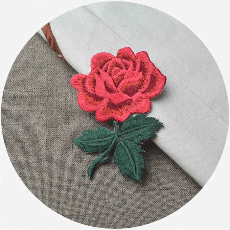 Pcs red rose applique flowers patch embroidered sew iron