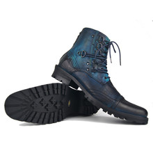 High End genuine leather handmade punk rock Boots men wedge ankle British cowboy Retro botas Wipe the old shoes