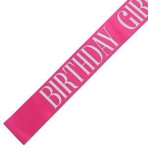 Image 4 - Aniversário menina cetim sash para 16 18 20 21 aniversário festa menina decorações favor presentes suprimentos branco rosa preto