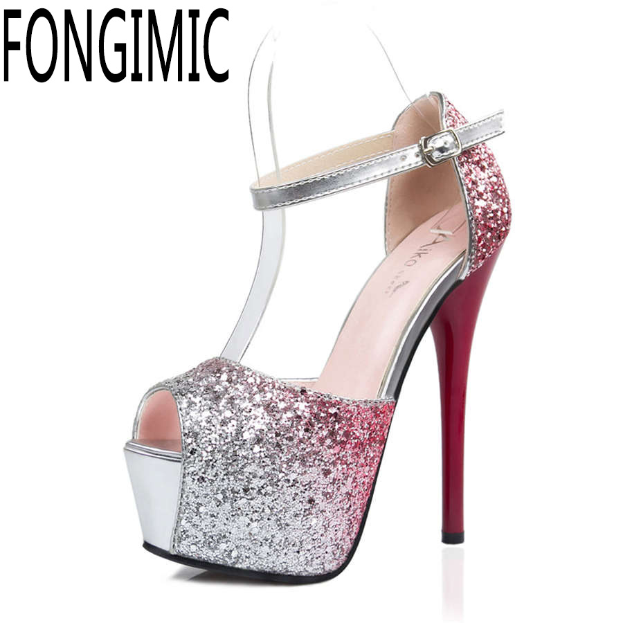 Women fashion fish mouth mix color sandals ladies sexy nightclub slim women super high heel shoes with platform wear comfortable europe and super high heels 14cm fashion shoes waterproof fish head sexy nightclub fine with plaid shoes