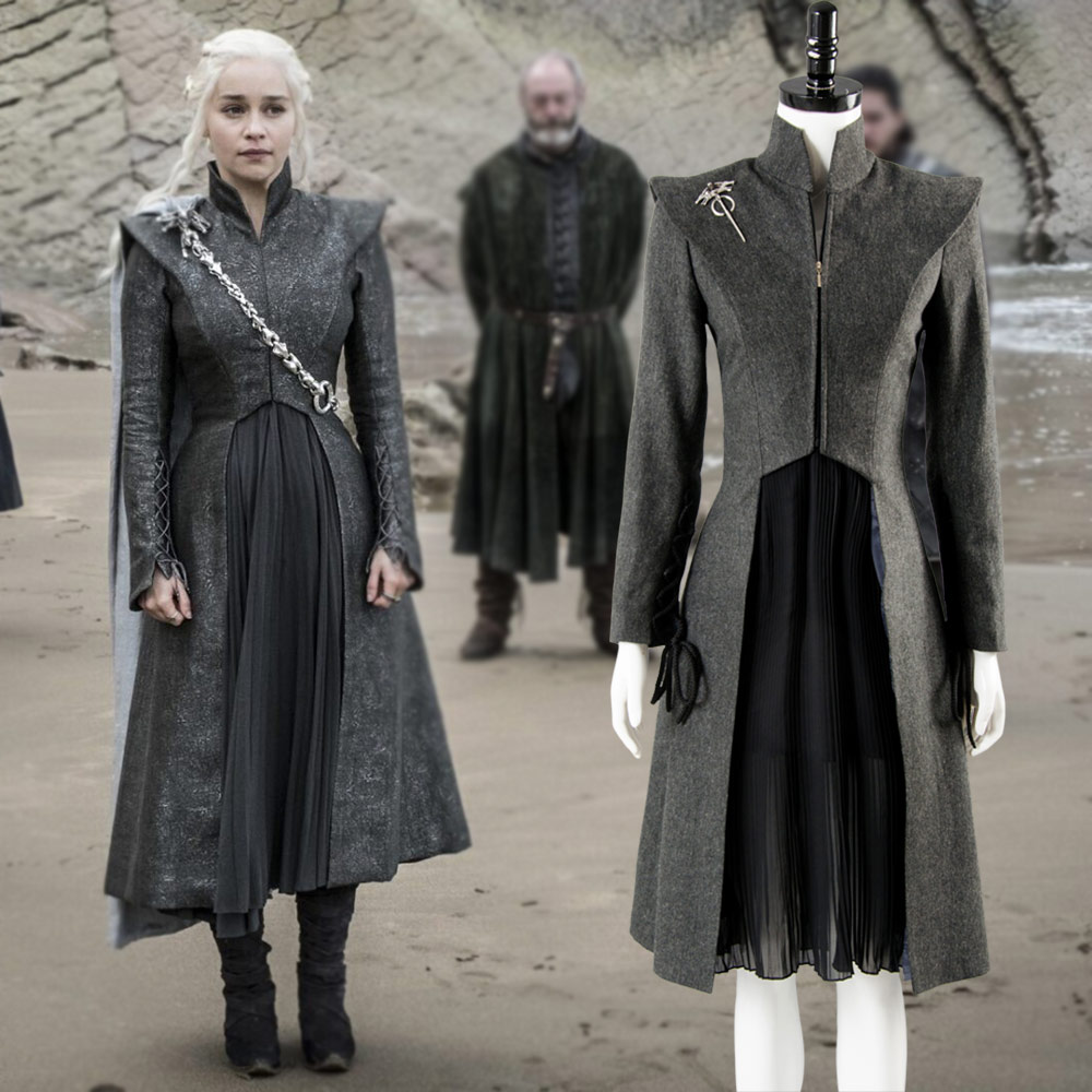 Game of Thrones Season 7 Daenerys Targaryen Cosplay Costume Gray Dress Gown Cloak with Boots Shoes