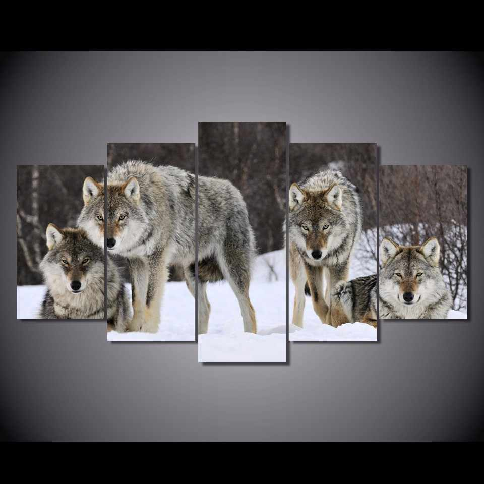 Framed 5Pcs Printed Winter white Snow wolf  Painting on canvas room decoration print poster picture canvas Free shipping