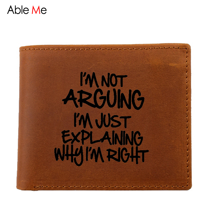 цены Personality funny gift high quality real leather wallets laser Engraved I'M NOT ARGUING JUST EXPLAINING Wallet Men walet male