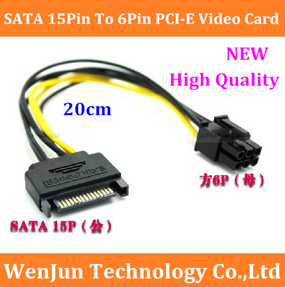 100PCS Free shipping SATA Power Cable 15Pin To 6Pin PCI E Graphics Video Card Power Cable