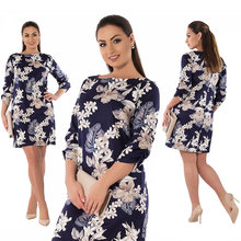 2018 Summer Dress Plus Size Women Clothing Elegant Floral Printed Dress Big Size Office Work Dress 5XL 6XL Party Dress Vestidos
