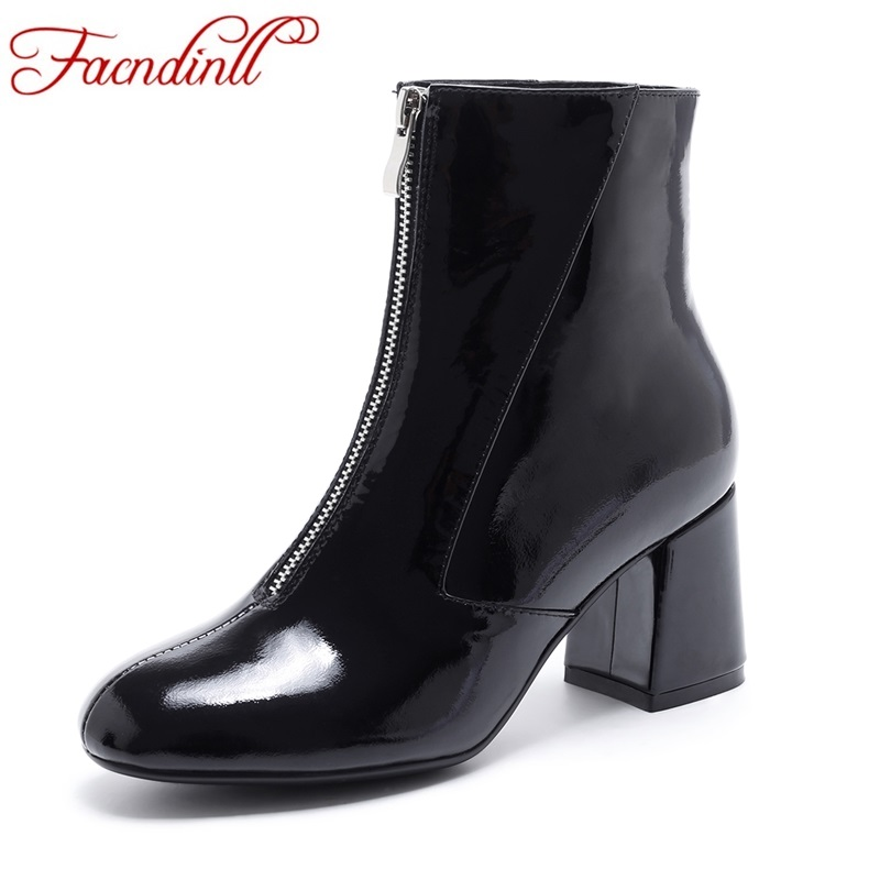 FACNDINLL new 2017 patent real leather women ankle boots sexy high heels square toe shoes woman autumn winter black riding boots игровой коврик cougar control s