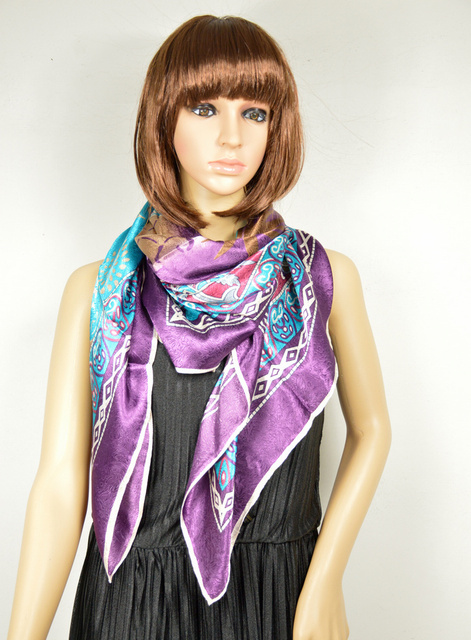 Purple Blue Scarves New 110*110cm Fashion Hot Sale New Style Blue Purple Satin Silk Scarf Printed,Big Square Scarf/ Wraps