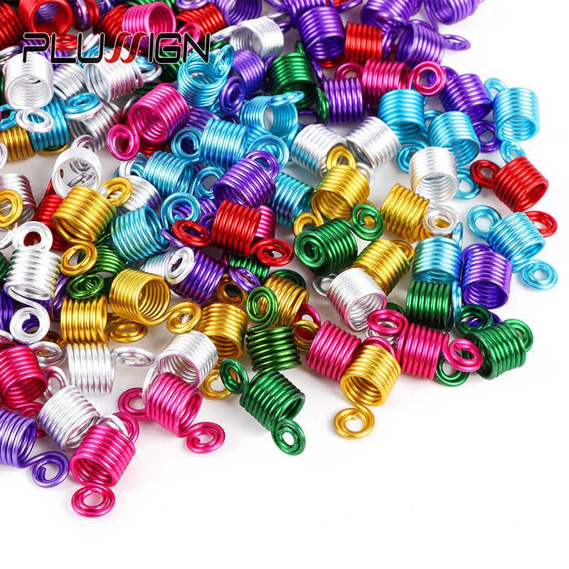 Plussign profesional 10-20 piezas anillos de pelo para trenzas hermosas cuentas de Dread trenzas accesorios para el cabello tornillo joyería para el cabello para trenza