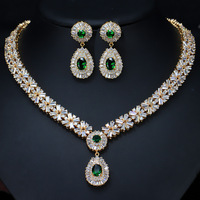 Bilincolor high quality green necklace and earrings wedding jewelry sets for brides