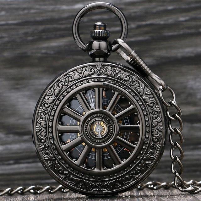 Vintage Silver/Black Roman Number Mechanical Pocket Watch Men Women Clock Hours