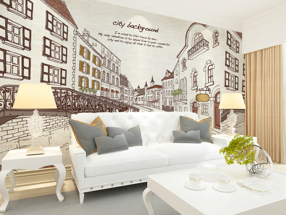 Free Shipping Hand painted fashion city TV background wallpaper mural personalized custom bedroom living room mural wallpaper free shipping personalized fashion figure puzzle 3d wallpaper salon bedroom wallpaper background bar ktv mural