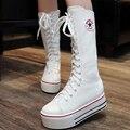 Nova Outono Estudantes Das Mulheres Moda Casual de Alta Ajuda sapatas de Lona Lacing Placas Plimsolls Tênis Plataformas Planas Sapatos Zapatillas G225