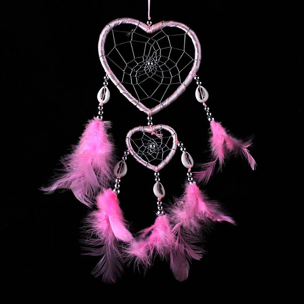 Pink Heart Antique Imitation Dreamcatcher Gift checking Dream Catcher Net With natural stone Feathers Wall Hanging P0.2