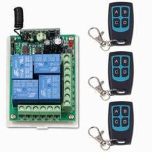DC 12V 24V 4 CH 4CH RF Wireless Remote Control Switch System,3 X Waterproof Transmitter + 1 Receiver,315/433.92MHZ