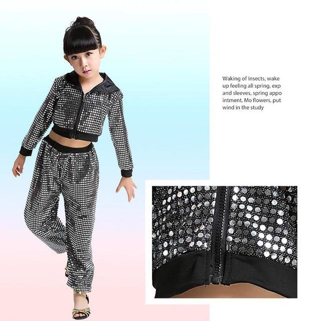 Colors Sequined Kids Adult False Sweatpants performance wear Jazz Hip Hop Dance Pants Boys Modern dancewear costumes Hoodie 2