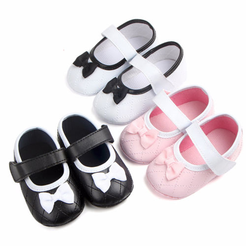 Baby Girl Infant Toddler Prewalker Bowknot Soft Crib Shoes Summer Cute PU Anti Slip shoes