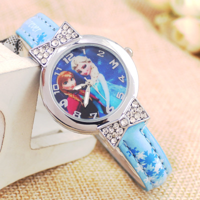 Bowknot dial colors FROZEN ice elsa princess Ann children little girl students watch cartoons цена