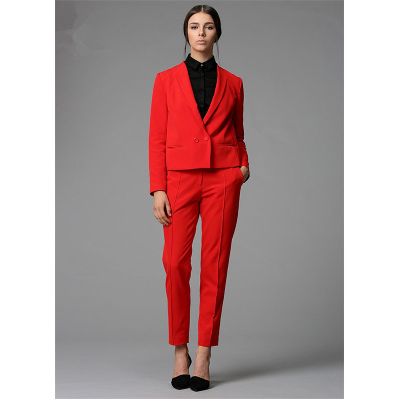 New Red Work Wear Bussiness Formal Elegant Women Pant Suits Blazers Ladies Office Suits Fashion Women Trouser Suits Custom