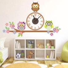 Cute Owl Wall Clocks Cartoon Sticker Large Decorative Wall Clocks Kids Bedroom Children Home Decor Big Kids Wall Clock Reloj
