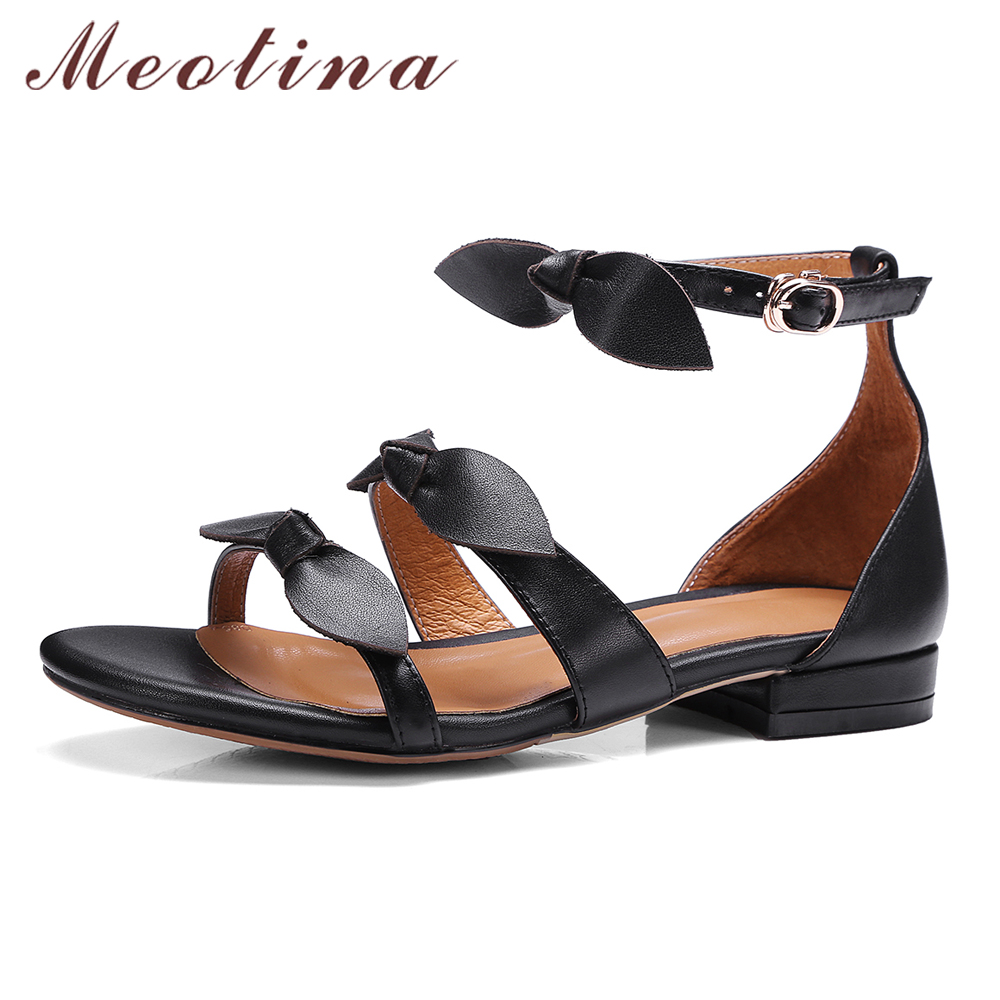 Black leather sandals low heel - Meotina Women Sandals Summer Genuine Leather Sandals Ankle Strap Low Heels Bow Party Shoes Gladiator Sandals Black Size 34 39