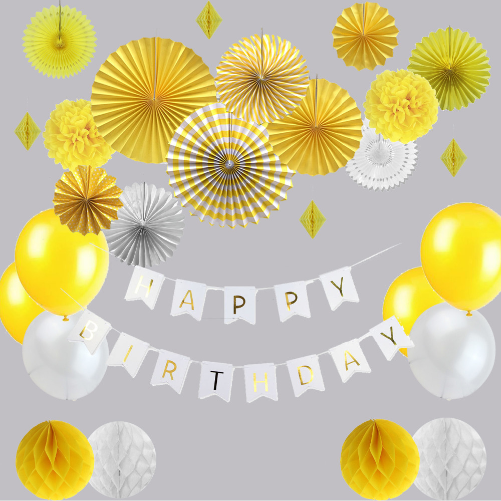 22pcs Sunny Yellow You Are My Sunshine Birthday Party
