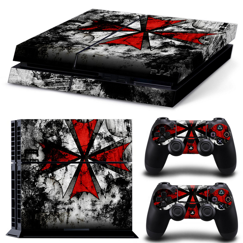 Biohazard Umbrella Sticker Cover Wrap Protector Skin For Sony Playstation 4 Console & 2PCS Controller Skin Decal For PS4 image