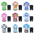 Детский комплект из Джерси для мальчиков и девочек  шорты с короткими рукавами и 3D подкладкой  дышащие шорты с пандой и кроликом