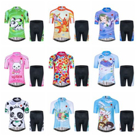 Children Boys Girls Cycling Jersey Set Short Sleeve 3D Padded Shorts Breathable Panda Rabbit Dog