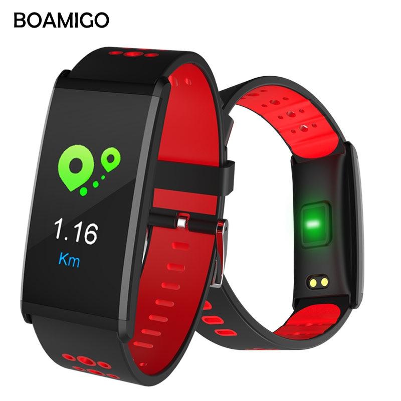 Astuto Della Vigilanza BOAMIGO Marca Smart Wristband Del braccialetto degli uomini di Chiamata Messaggio di Promemoria Pedometro Calorie Allarme Bluetooth Per IOS Android