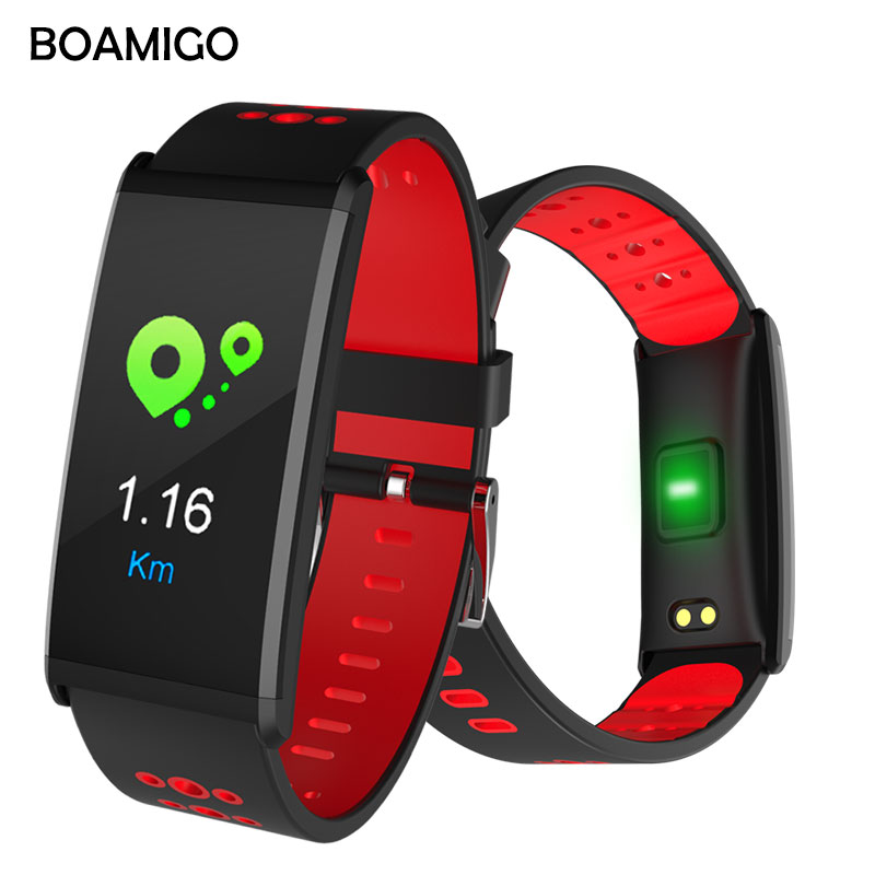 Smart Uhr BOAMIGO Marke Smart Armband Farbe Screen Call Nachricht Erinnerung Pedometer Kalorie Bluetooth Alarm Für IOS Android