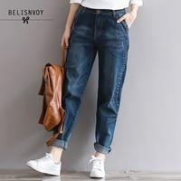 2017 Autumn Winter Jeans Women Preppy Loose High Waist Pockets Plus Size Denim Pants Blue Cotton
