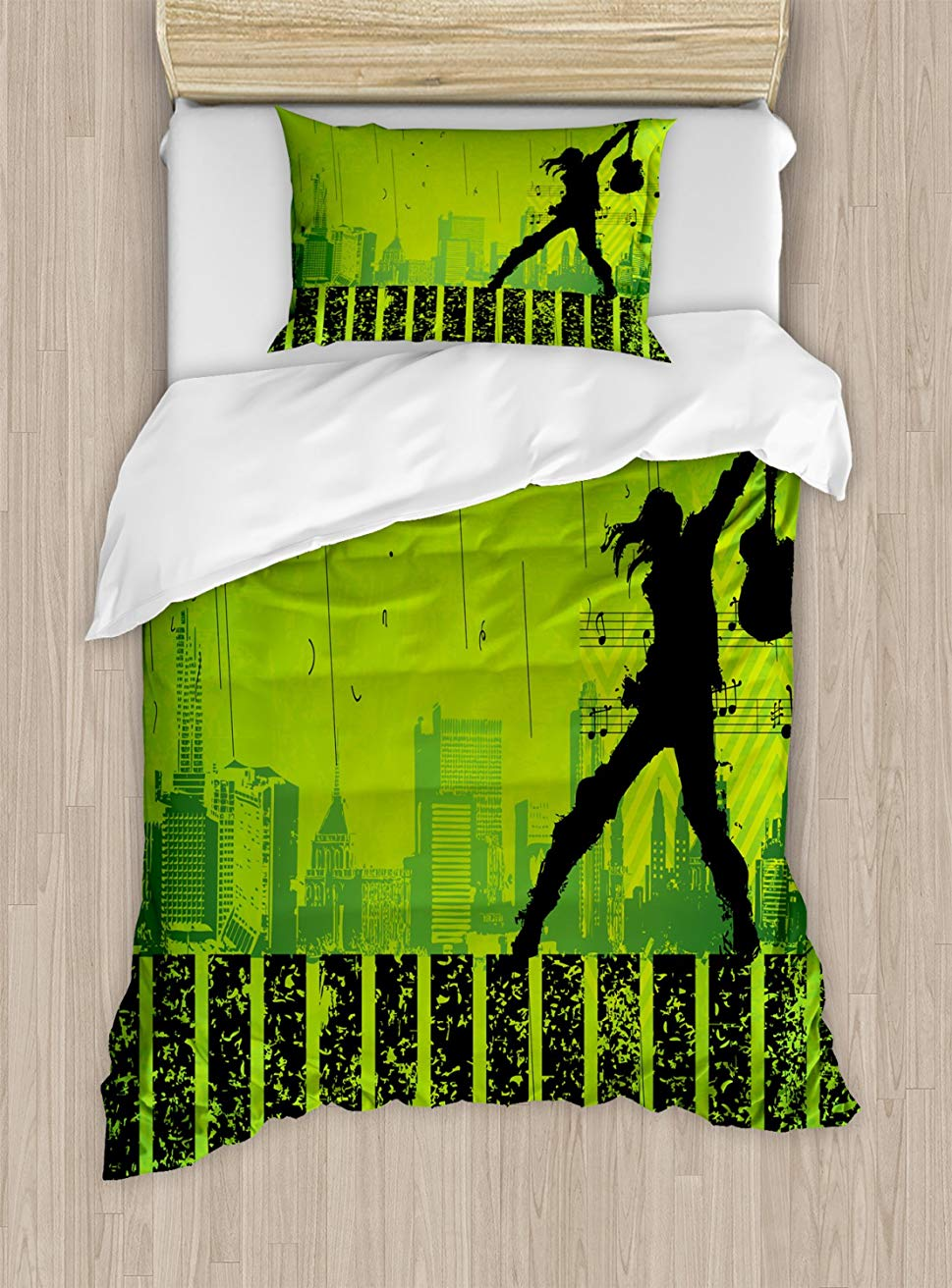 Popstar Party Duvet Cover Set Twin Size Music In The City Theme Singer  Electric Guitar on Grunge BackdropPopstar Party Duvet Cover Set Twin Size Music In The City Theme Singer  Electric Guitar on Grunge Backdrop