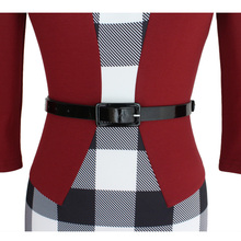 BISM Women's Sexy Bodycon Check Tartan Style Business OL Pencil Dress red S