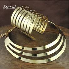 New Fashion Gold Color Jewelry Set Multilayer Necklaces Bracelets & Bangles Collares Mujer Chunky Choker Bijoux