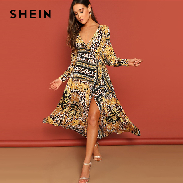 2025dd7c9c SHEIN Multicolor Leopard Scarf Print Self Belt Surplice Dress Women 2019  Spring High Waist V Neck