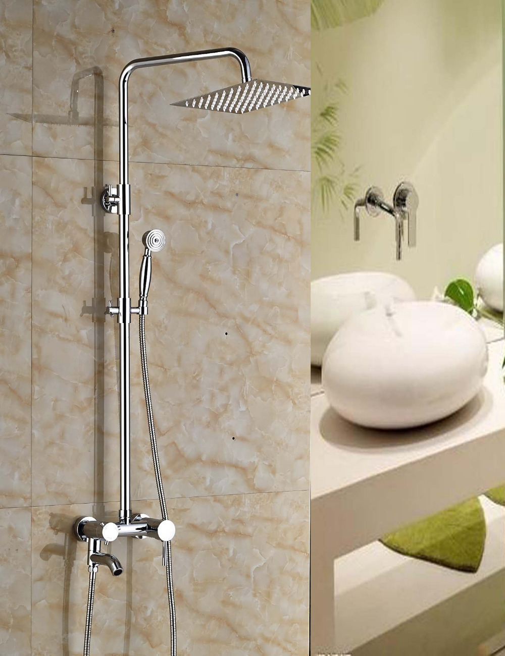 Wholesale And Retail Square Rainfall Chrome Brass Shower Head Tub Spout W/ Hand Shower Ceramic Valve Core Shower Faucet wholesale and retail promotion deck mounted chrome brass waterfall spout bathroom tub faucet w hand shower