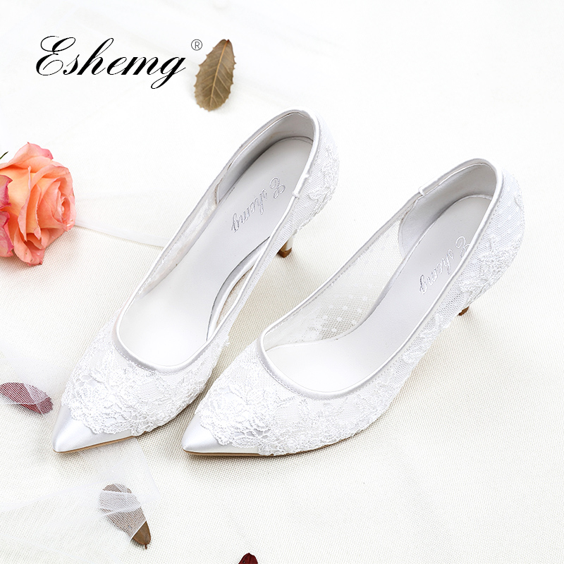 Eshemg 2018 New Sexy lace wedding shoes woman party Pointed Toe Heels high heels pumps 8 cm wedding shoes white bride High-end high heels european grand prix 2015 new winter bride wedding high heels nightclub wild pointed high heeled shoes women pumps page 6