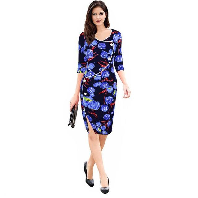 Women Retro Contrast Front hem plit ends Wear to Work Business vestidos Office Bodycon V-neck Female Dress Spring autumn G26