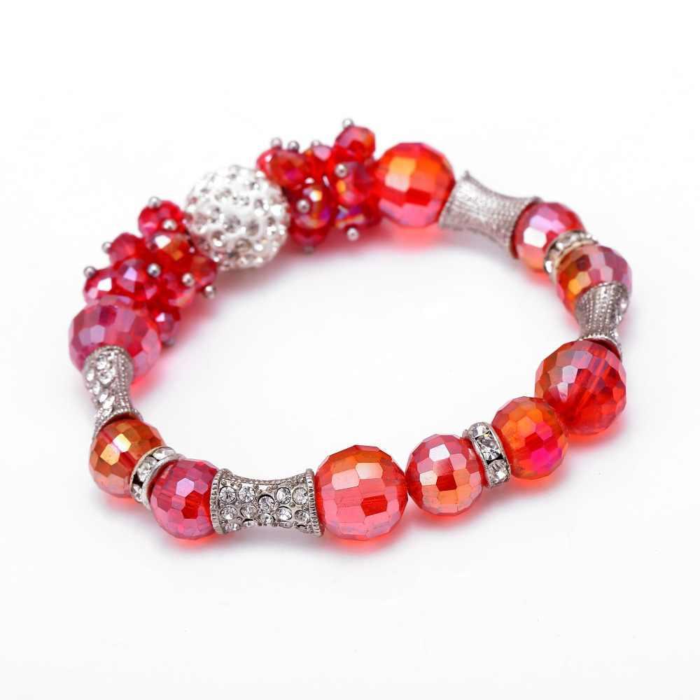 New Pha Lê bóng Charm Bracelets Cho Phụ Nữ hợp kim DIY Hạt Vòng Tay & Bangles Pulsera quà sinh nhật Thời Trang