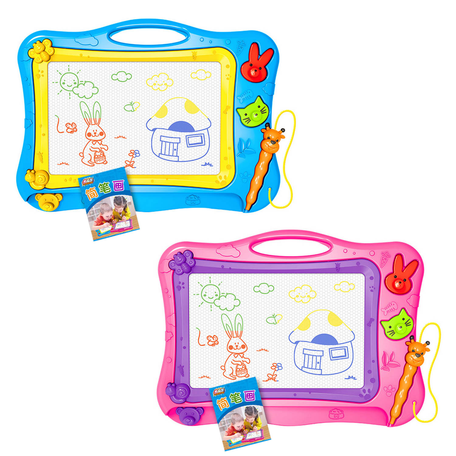 Colorful Erasable Magnetic Doodle Writing Drawing Painting Board Pad Educational Toy with 2pcs Stamps for Kids Toddlers ChildrenColorful Erasable Magnetic Doodle Writing Drawing Painting Board Pad Educational Toy with 2pcs Stamps for Kids Toddlers Children