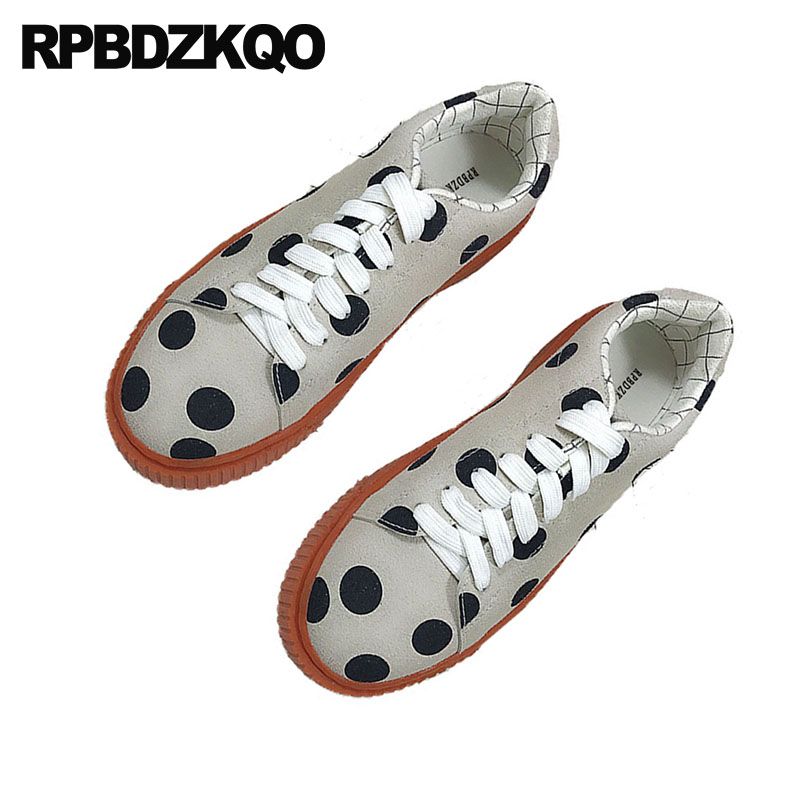 Japanese School Round Toe Muffin Gray Thick Sole Flats Women Suede Lace Up Creepers Platform Shoes Harajuku Elevator Polka Dot