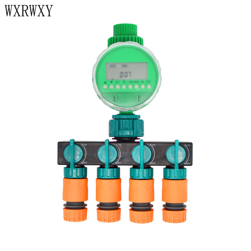 wxrwxy Garden timer irrigation 4 way tap 1/2 Faucet 4 way splitter Timer for watering 16mm Shunt four outlets 1set