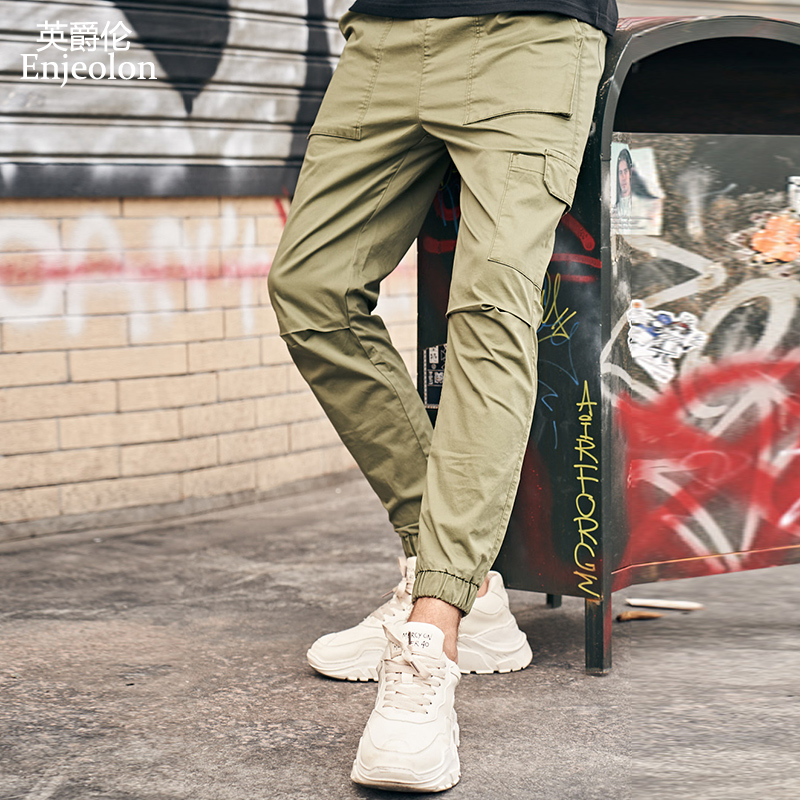 Enjeolon 2019 New Summer Mens Cargo Pants Men Joggers Military Casual Solid Cotton Pants Hip Hop Male Army Trousers KZ6345