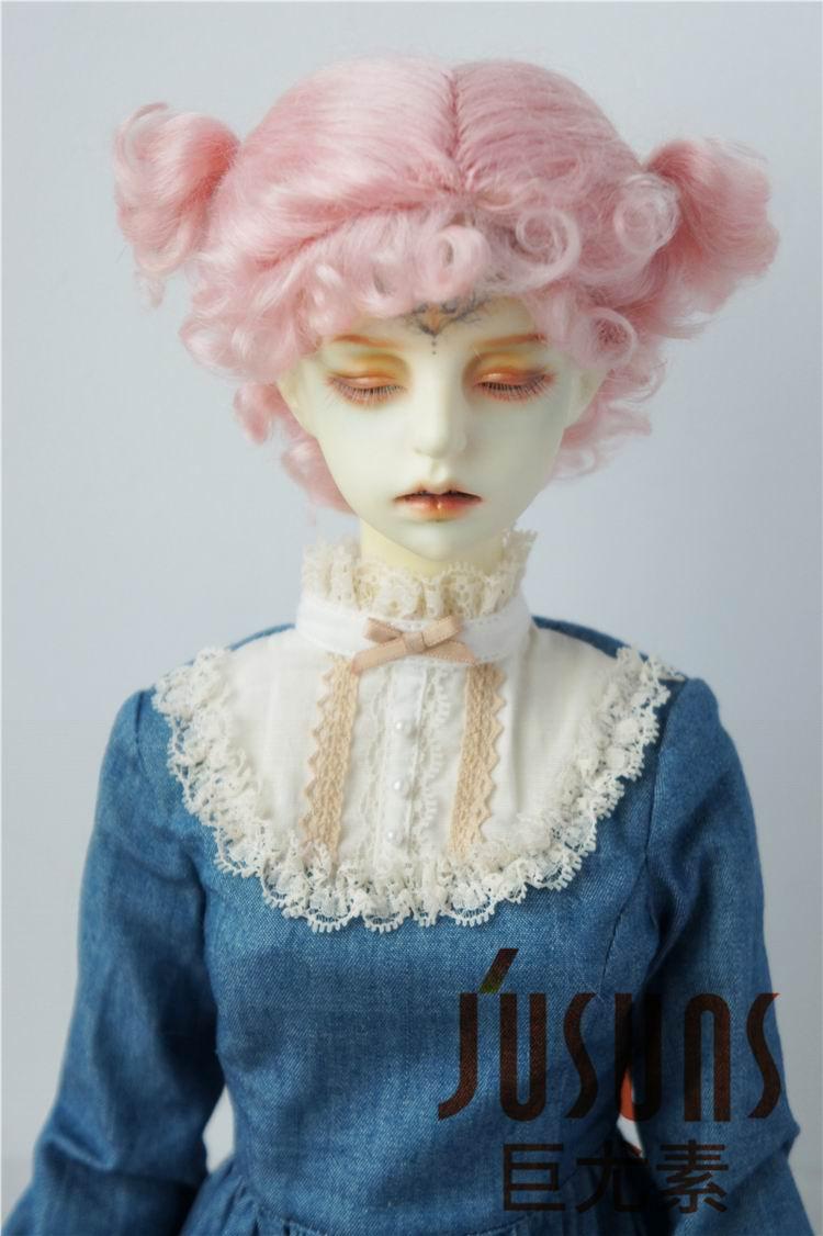 JD269 1/4 1/3 MSD SD Мода BJD парик для куклы мохеровый Размер 7-8 дюймов 8-9 дюймов прекрасная Двойная чаша BJD волосы - Цвет: size 8-9inch Pink