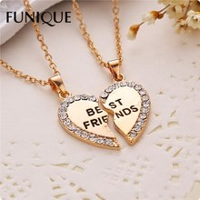 FUNIQUE 2PCs/Set Fashion Split Long Necklace For Women Girl Friends Half Heart Rhinestone BEST FRIENDS Pendant Fashion Jewelry(China)