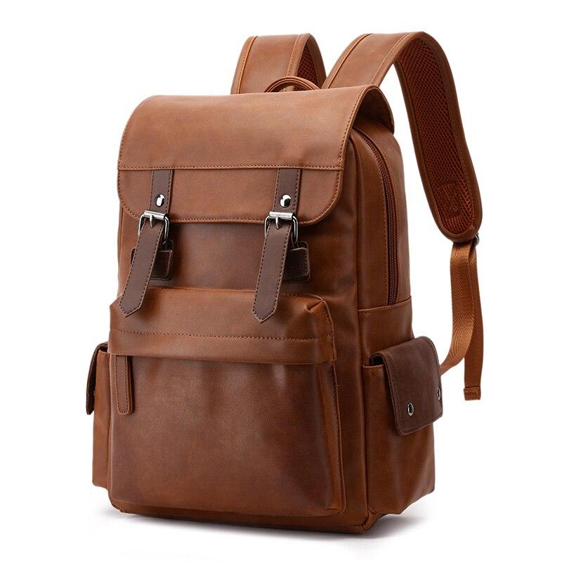 Crazy horse leather men backpack 2019 fashion Panelled black school backpack bag Retro Waterproof men backpack