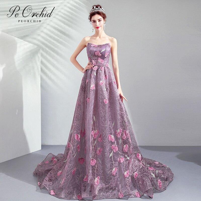 Peorchidée violet fleurs Floral robe de bal 2019 une ligne Occasion robe de soirée robe de soirée porter pour les femmes Vestido Fiesta Baile